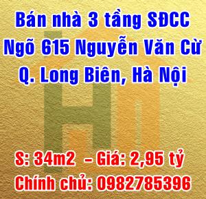 Chính chủ bán nhà số 3 ngõ 615/13 Nguyễn Văn Cừ, Quận Long Biên, Hà Nội