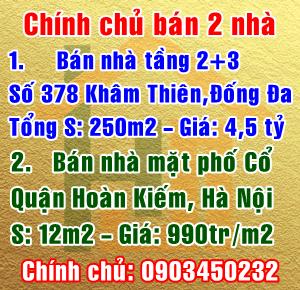 Chính chủ bán nhà mặt phố Khâm Thiên, Đống Đa & Mặt phố cổ, Hoàn Kiếm