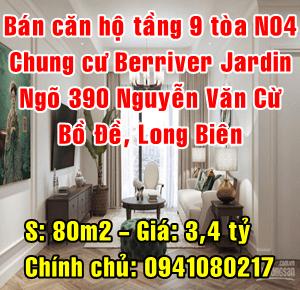 Bán căn hộ tầng 9 tòa N04 chung cư Berriver Jardin ngõ 390 Nguyễn Văn Cừ, Quận Long Biên
