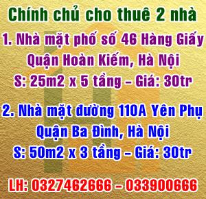 Chính chủ cho thuê nhà mặt phố Hàng Giấy, Hoàn Kiếm & Yên Phụ, Ba Đình