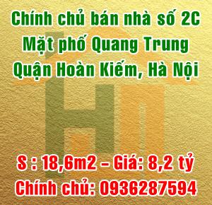 Chính chủ bán nhà mặt phố số 2C Quang Trung, Quận Hoàn Kiếm