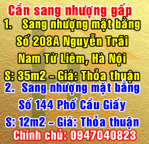 Chính chủ sang nhượng mặt bằng số 208A Phố Nguyễn Trãi, Quận Nam Từ Liêm
