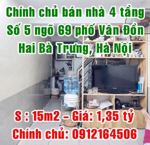 Chính chủ bán nhà số 5 ngõ 69 phố Vân Đồn, Quận Hai Bà Trưng