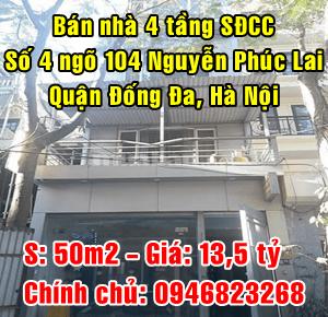 Chính chủ bán nhà số 4 ngõ 104 Phố Nguyễn Phúc Lai, Ô Chợ Dừa, Đống Đa, Hà Nội