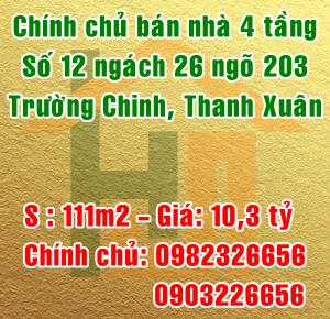 Chính chủ bán nhà số 12 ngách 203/26 đường Trường Chinh, Quận Thanh Xuân