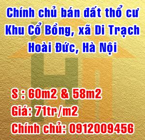 Chính chủ bán đất thổ cư khu Cổ Bồng Xã Di Trạch, Huyện Hoài Đức, Hà Nội