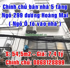 Chính chủ bán nhà ngách 299/66 đường Hoàng Mai, Quận Hoàng Mai