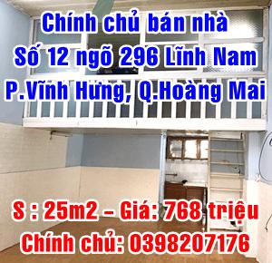 Chính chủ cần bán nhà số 12 ngõ 196 Lĩnh Nam, Phường Vĩnh Hưng, Quận Hoàng Mai
