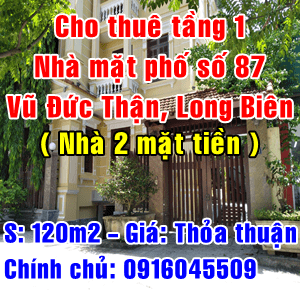 Cho thuê nhà mặt phố số 87 Vũ Đức Thận, Phường Việt Hưng, Quận Long Biên