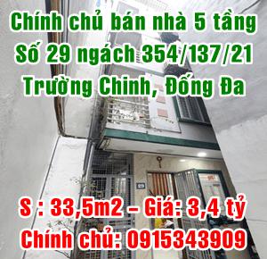 Chính chủ bán nhà số 29 ngách 354/137/21 Trường Chinh, Quận Đống Đa