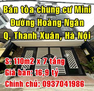 Bán tòa nhà chung cư Mini đường Hoàng Ngân, Quận Thanh Xuân, Hà Nội
