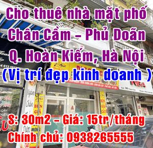 Chính chủ cho thuê nhà mặt phố Chân Cầm - Phủ Doãn, Quận Hoàn Kiếm