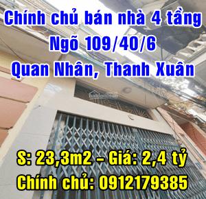 Chính chủ bán nhà ngõ 109/40/6 Quan Nhân, Phường Nhân Chính, Quận Thanh Xuân