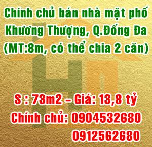 Chính chủ bán nhà số 192 mặt phố Khương Thượng, Quận Đống Đa