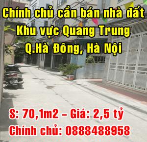 Chính chủ cần bán nhà đất khu vực Quang Trung, Hà Đông, Hà Nội