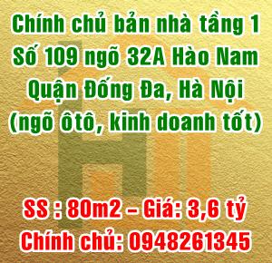 Chính chủ bán nhà tầng 1 số 109 ngõ 32A phố Hào Nam, Đống Đa