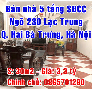 Chính chủ bán nhà ngõ 230 Lạc Trung, Quận Hai Bà Trưng, Hà Nội