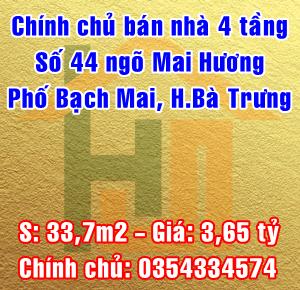 Chính chủ bán nhà số 44 ngõ Mai Hương, phố Bạch Mai, Quận Hai Bà Trưng