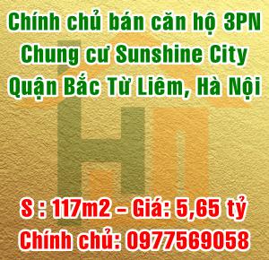 Chính chủ cần bán căn hộ chung cư Sunshine City, Bắc Từ Liêm, 117m2, 3PN
