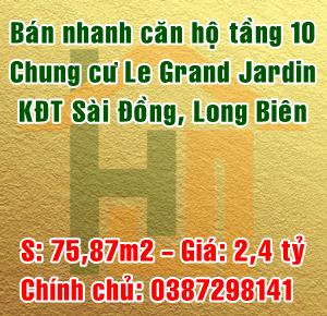 Chính chủ cần bán nhanh căn hộ chung cư Le Grand Jardin Sài Đồng, Quận Long Biên