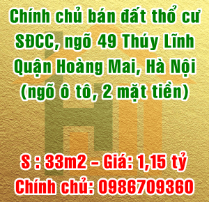 Chính chủ bán đất thổ cư ngõ 49 Thúy Lĩnh, Quận Hoàng Mai, Hà Nội