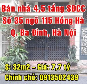 Chính chủ bán nhà số 35 ngõ 115 đường Hồng Hà, Phường Phúc Xá, Quận Ba Đình