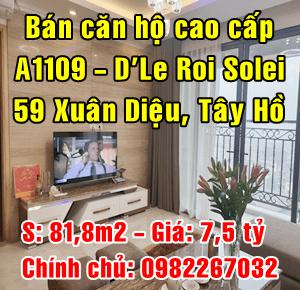 Bán căn A1109 số 59 Xuân Diệu, Phường Quảng An, Quận Tây Hồ, Hà Nội