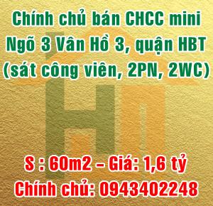 Chính chủ bán CHCC mini số 13 ngõ 3 Vân Hồ 3, Quận Hai Bà Trưng, Hà Nội