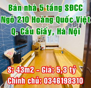 Chính chủ bán nhà riêng tại ngõ 210 Hoàng Quốc Việt, Quận Cầu Giấy