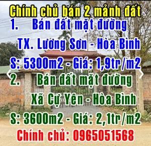 Chính chủ bán 2 mảnh đất mặt đường Thị Xã Lương Sơn, Hòa Bình