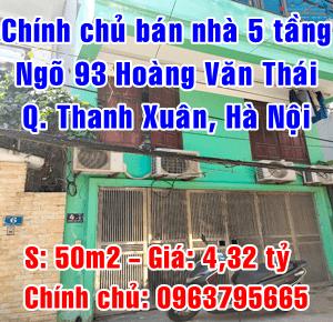 Chính chủ bán nhà số 4 Bắc Hồng, ngõ 93 Hoàng Văn Thái, Quận Thanh Xuân